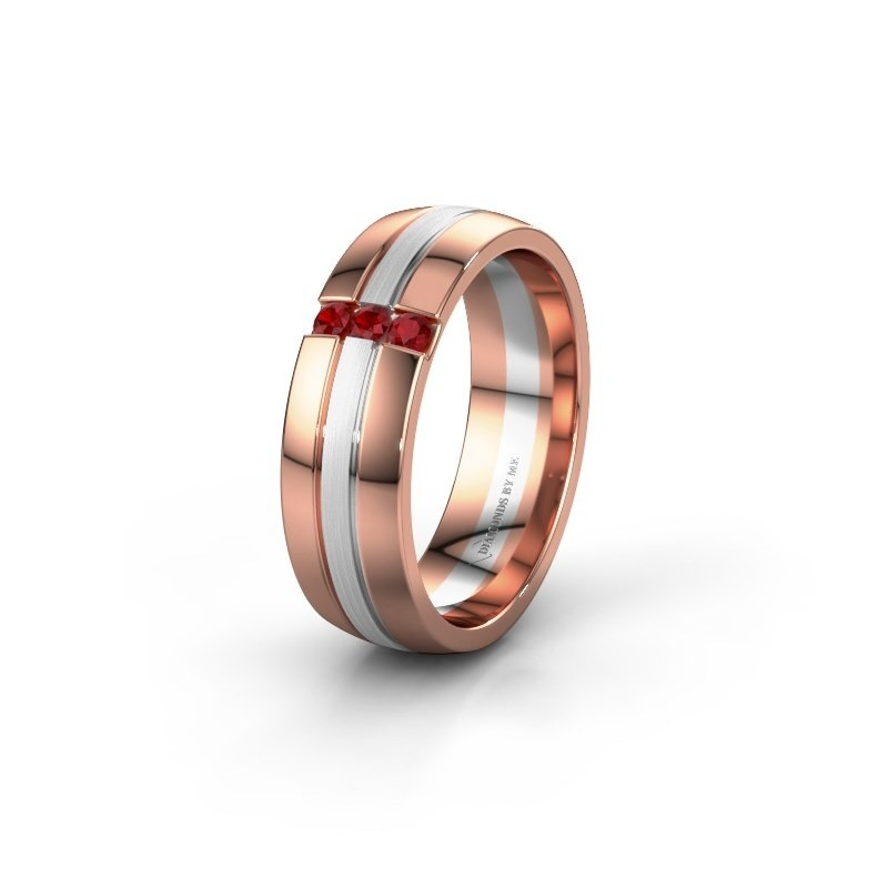 Wedding ring WH0426L26A 585 rose gold ruby ±0.24x0.07 in