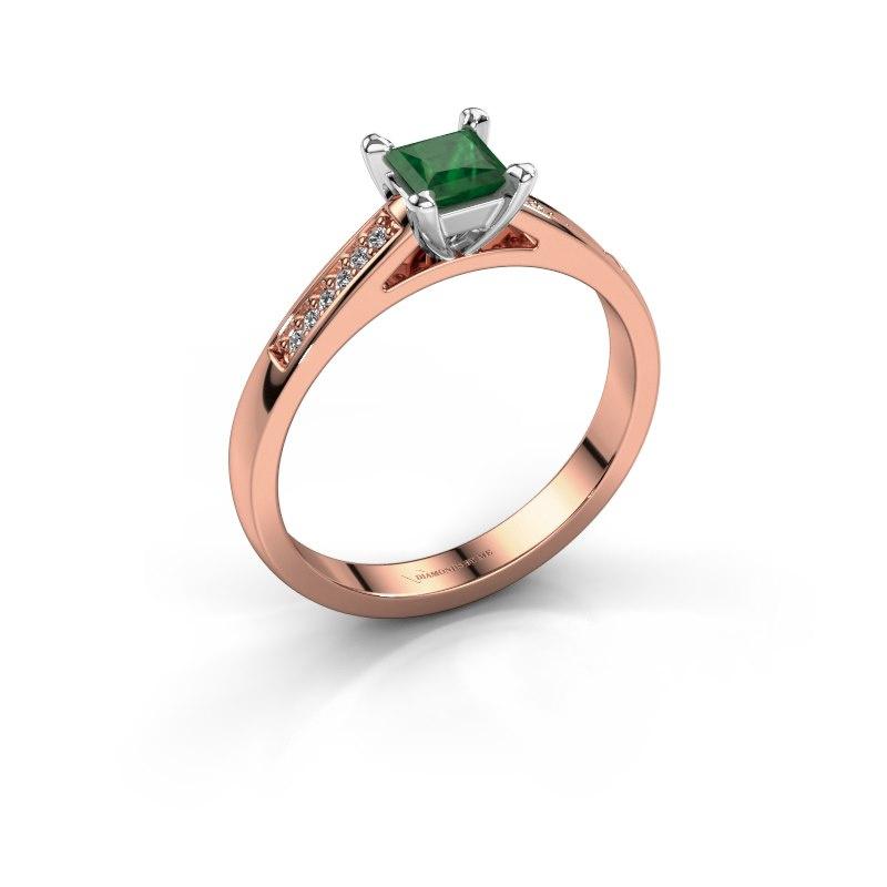 Engagement ring Nynke SQR 585 rose gold emerald 4 mm