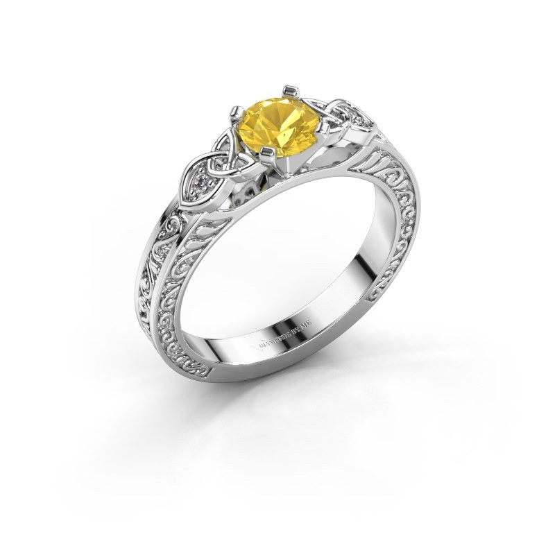 Engagement ring Gillian 585 white gold yellow sapphire 5 mm