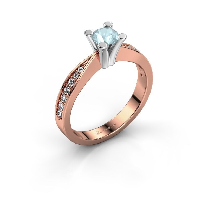 Promise ring Ichelle 2 585 rosé goud aquamarijn 4.7 mm