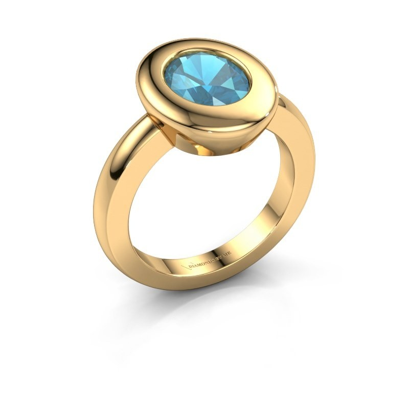 Ring Selene 1 585 goud blauw topaas 9x7 mm