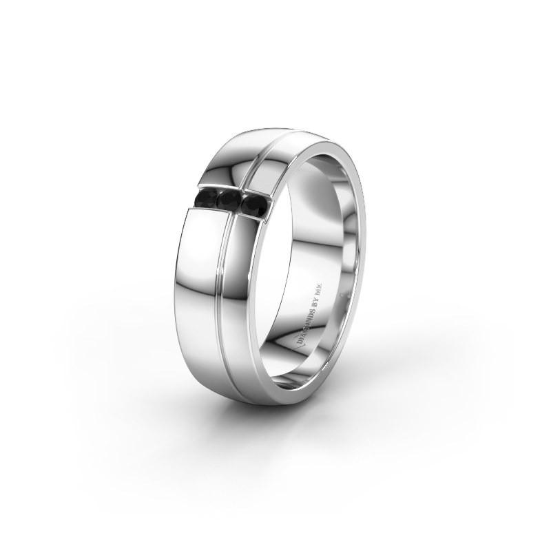 Trouwring WH0223L56A 950 platina zwarte diamant ±6x1.7 mm
