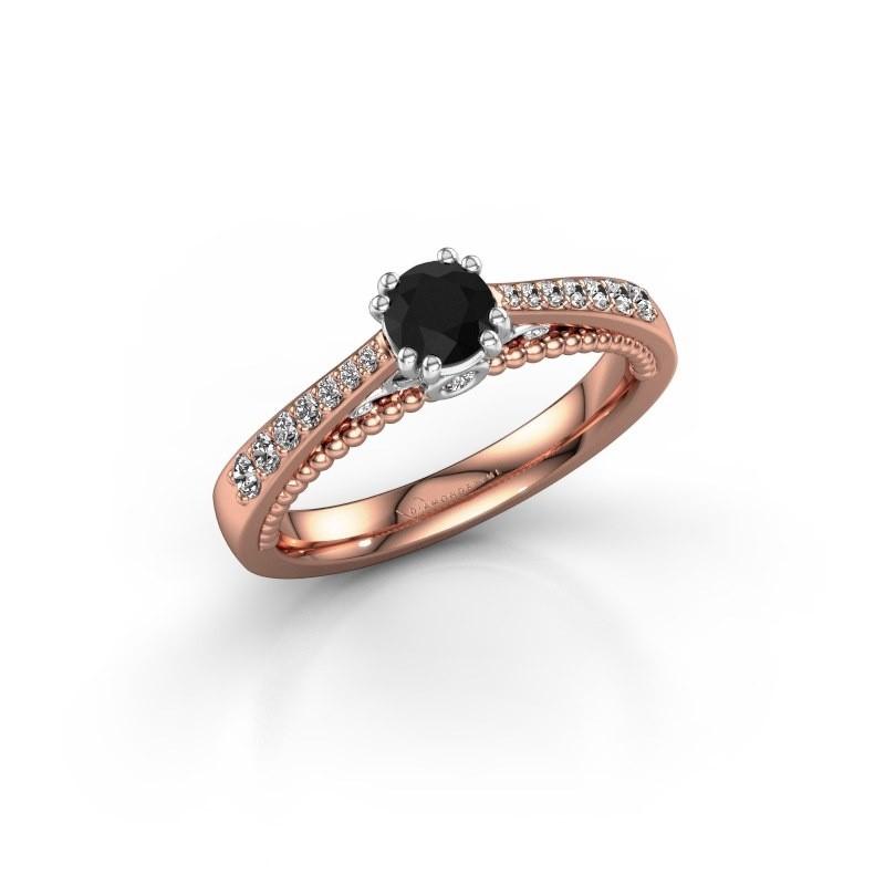 Verlovingsring Rozella 585 rosé goud zwarte diamant 0.578 crt