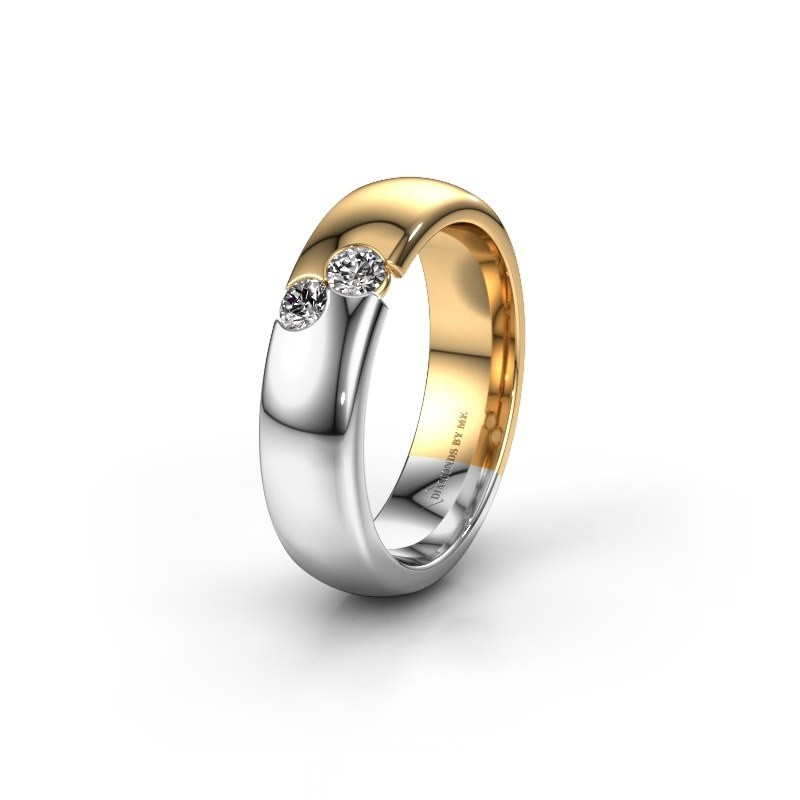 Wedding ring WH1003L26C 585 gold zirconia ±6x2.2 mm