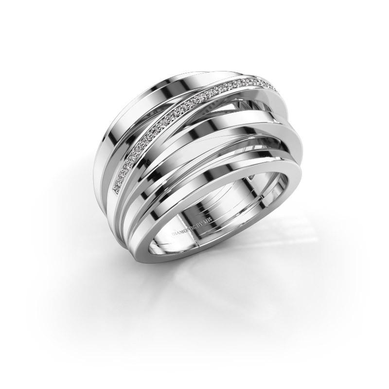 Ring Swinda 585 witgoud zirkonia 1 mm