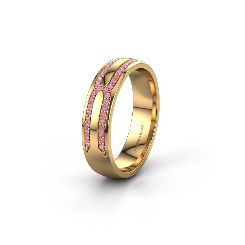Wedding ring WH2212L25AP 375 gold pink sapphire ±5x1.7 mm