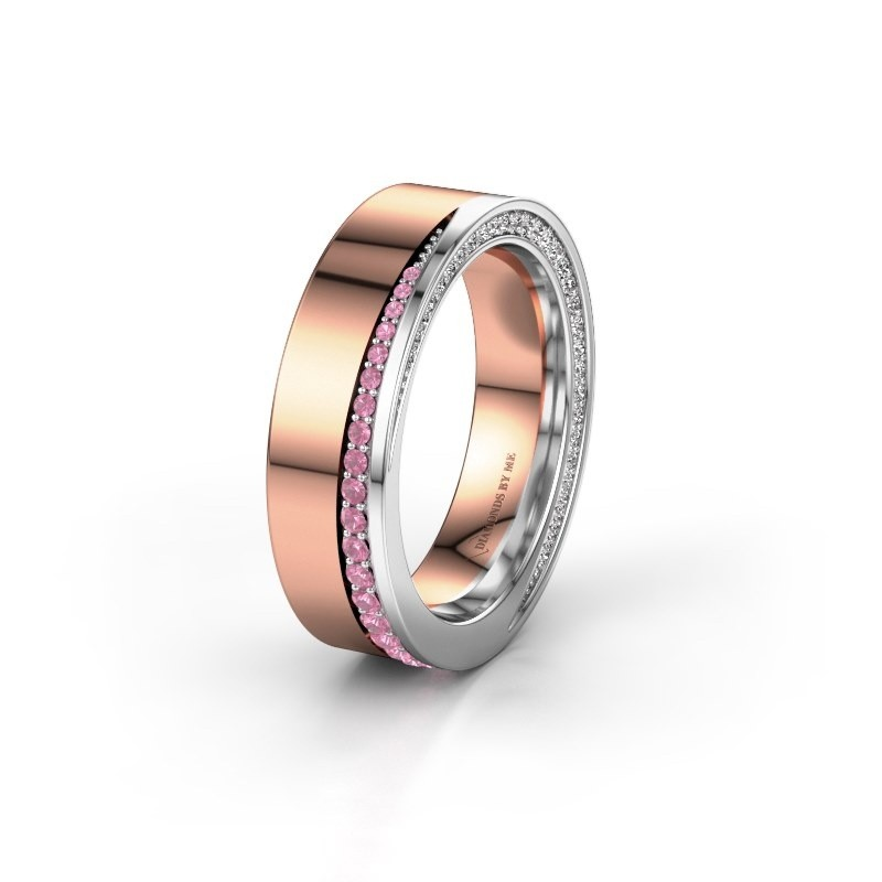 Wedding ring WH1002L15DP 585 rose gold pink sapphire ±6x2.3 mm