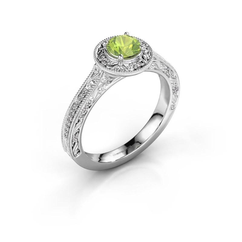 Verlovings ring Alice RND 585 witgoud peridoot 5 mm