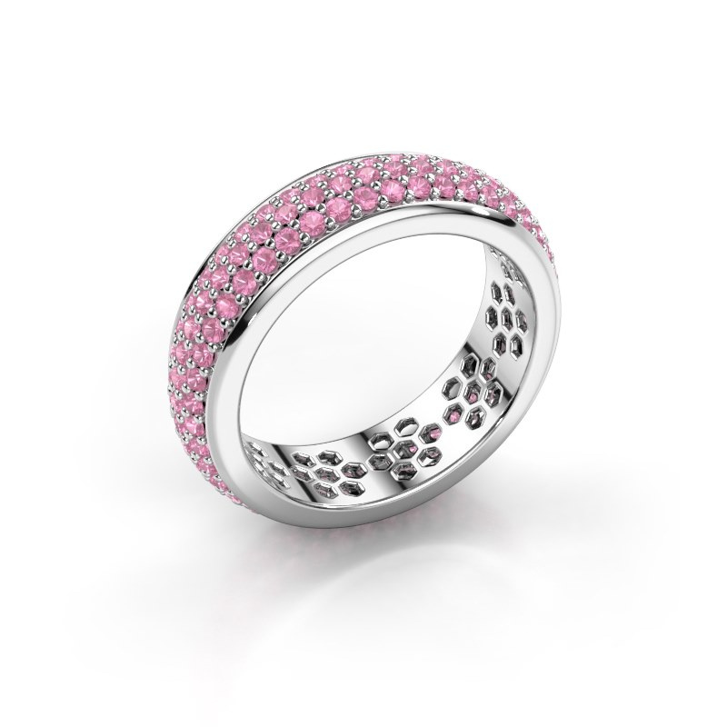 Ring Tara 585 witgoud roze saffier 1.3 mm
