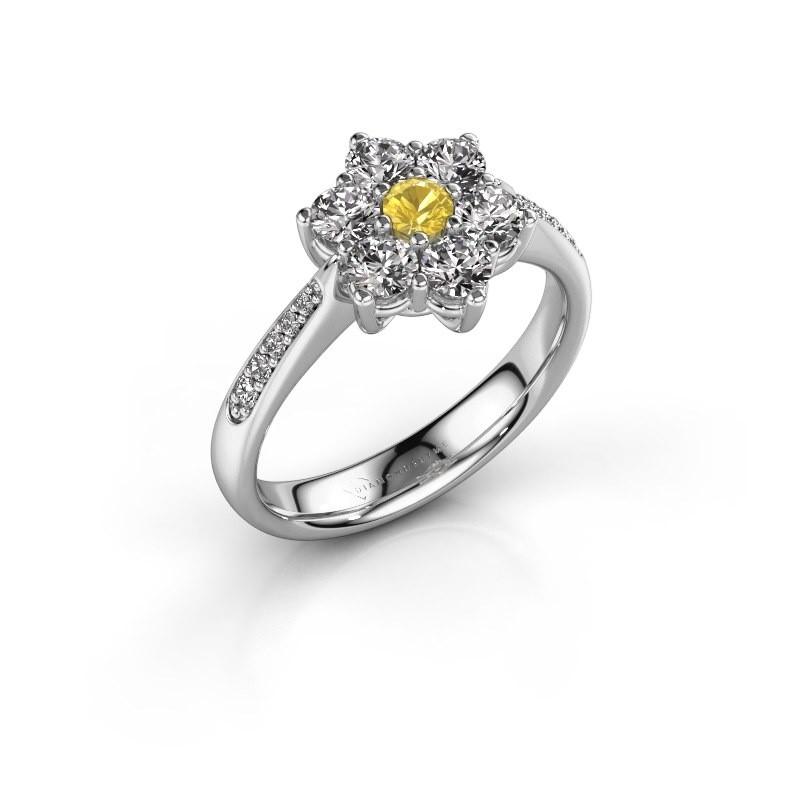 Bague de fiançailles Chantal 2 585 or blanc saphir jaune 3 mm
