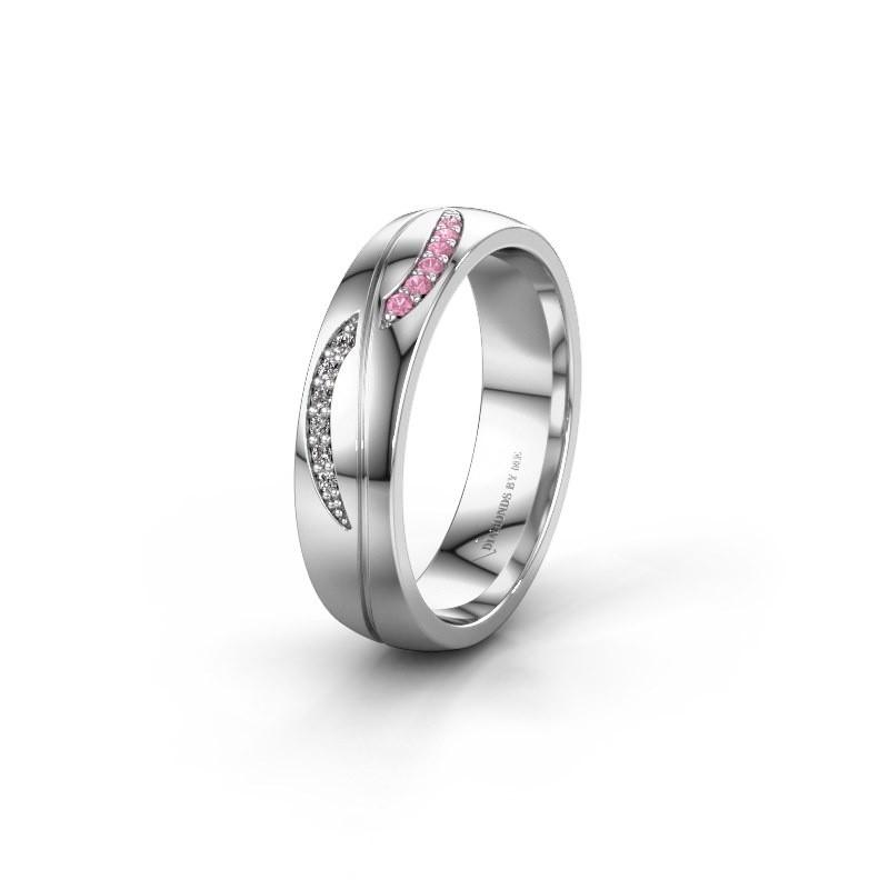 Trouwring WH2118L25A 585 witgoud roze saffier ±5x1.7 mm