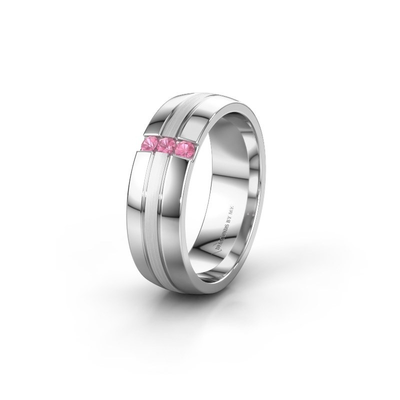 Wedding ring WH0426L26A 585 white gold pink sapphire ±6x1.7 mm