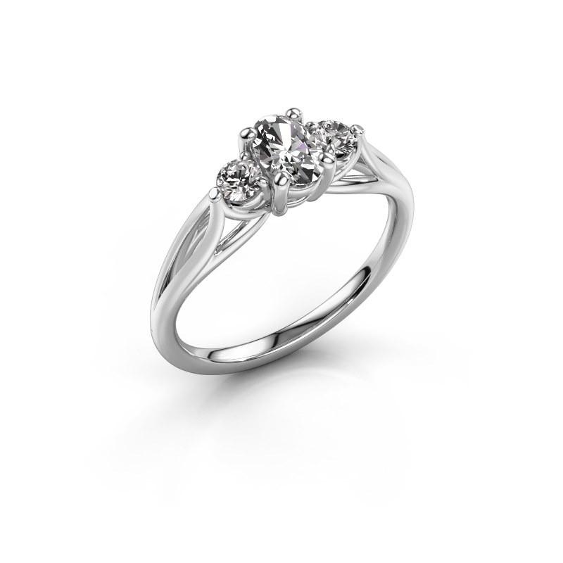 Bague de fiançailles Amie OVL 585 or blanc diamant 0.70 crt