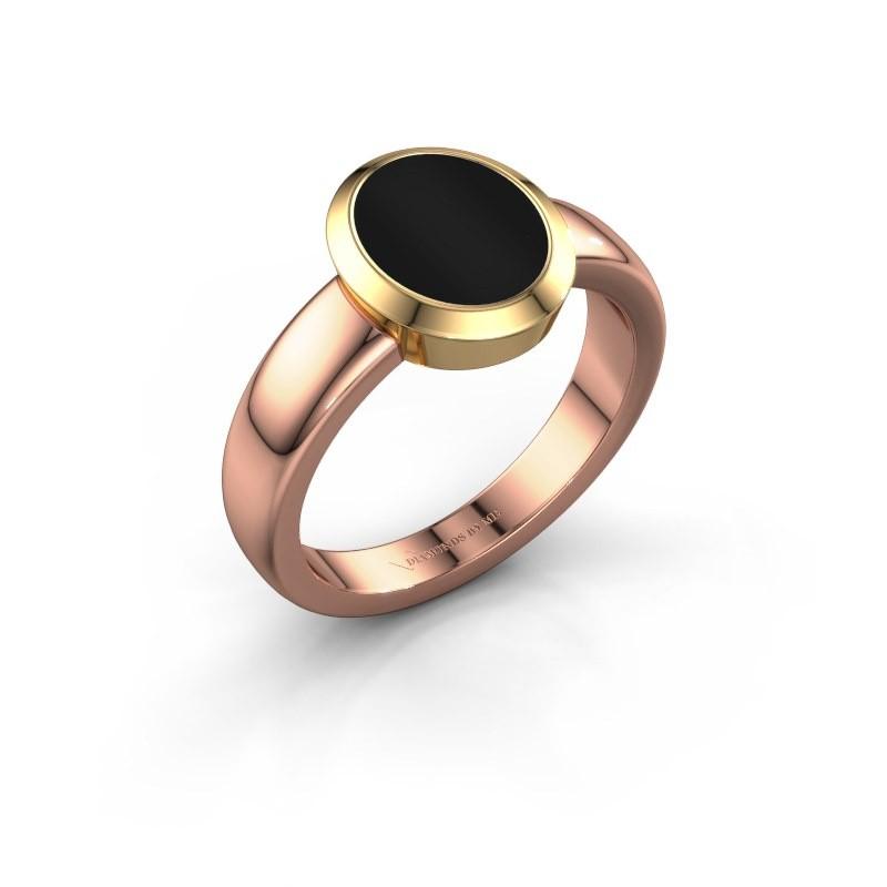 Zegelring Freeda 1 585 rosé goud onyx 10x8 mm
