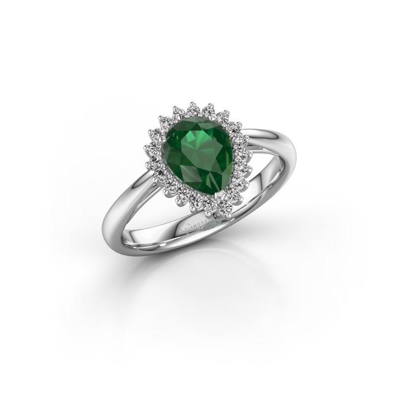 Verlovingsring Chere 1 950 platina smaragd 8x6 mm