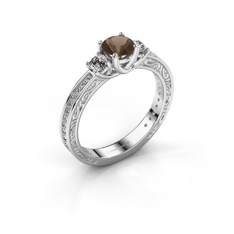 Verlovingsring Betty 2 925 zilver rookkwarts 5 mm