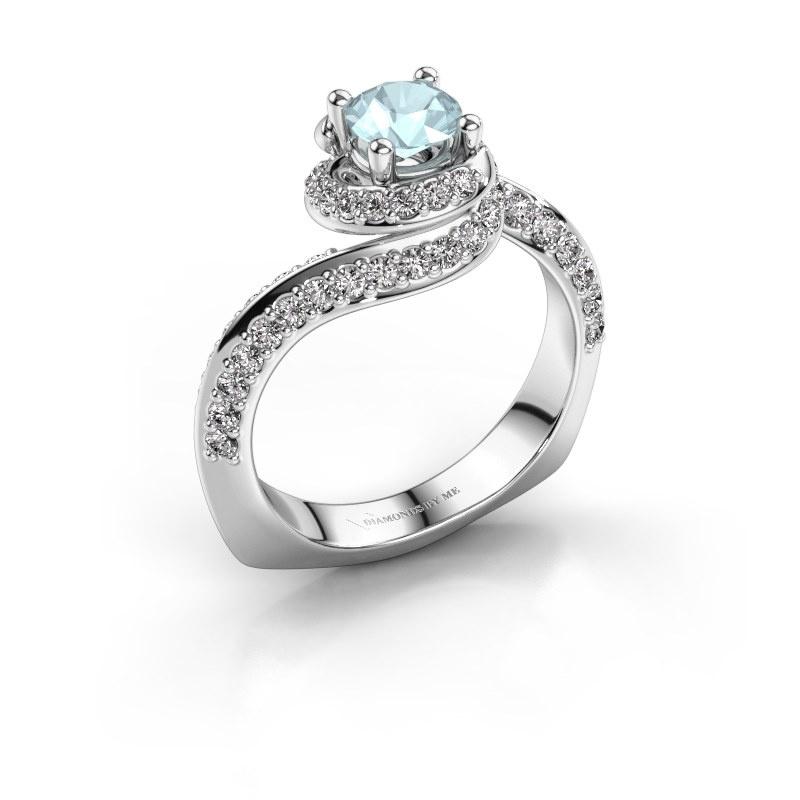 Engagement ring Sienna 950 platinum aquamarine 5 mm