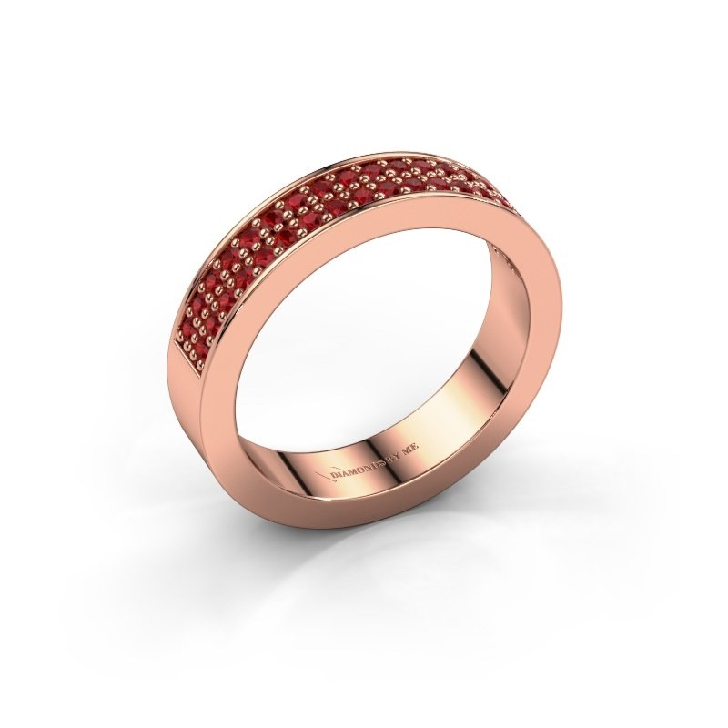Stackable ring Catharina 4 375 rose gold ruby 1.3 mm