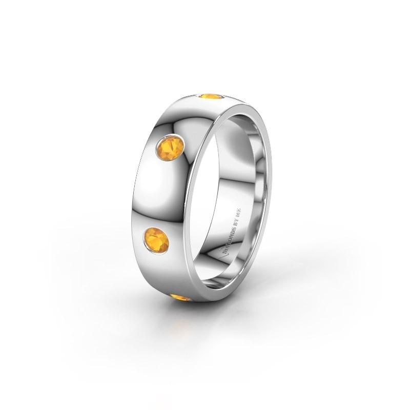 Wedding ring WH0105L26BP 950 platinum citrin ±0.24x0.08 in