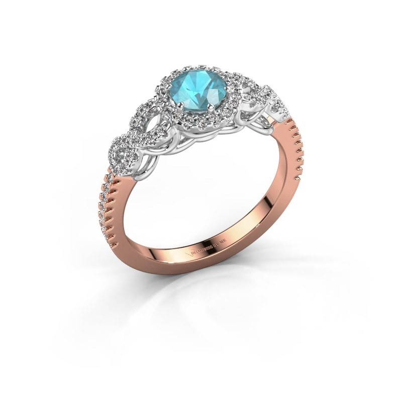 Engagement ring Sasja 585 rose gold blue topaz 5 mm