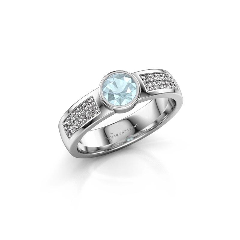 Engagement ring Ise 3 585 white gold aquamarine 4.7 mm