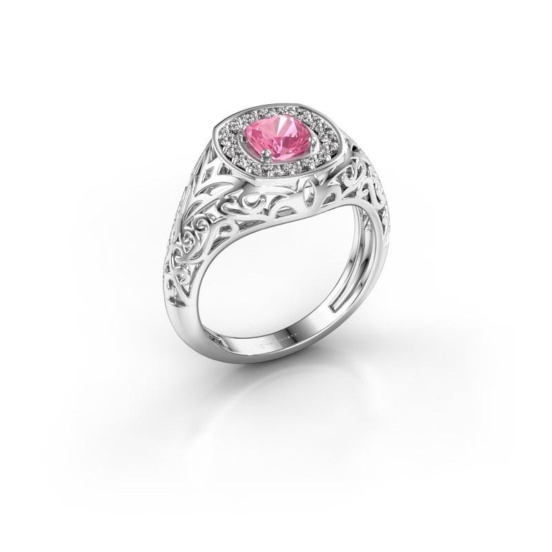 Men's ring Quinten 925 silver pink sapphire 5 mm