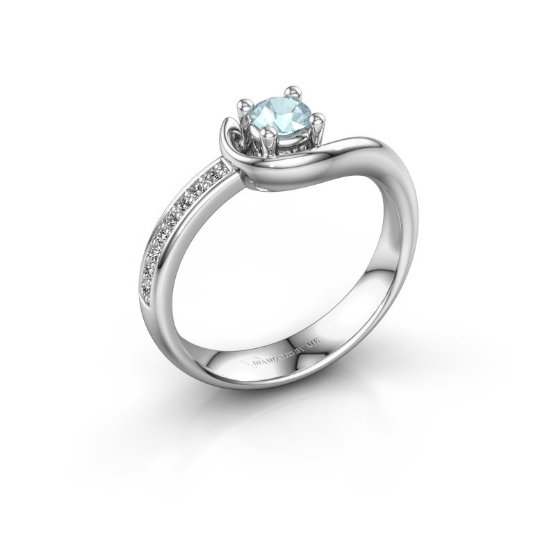 Ring Ceylin 585 witgoud aquamarijn 4 mm