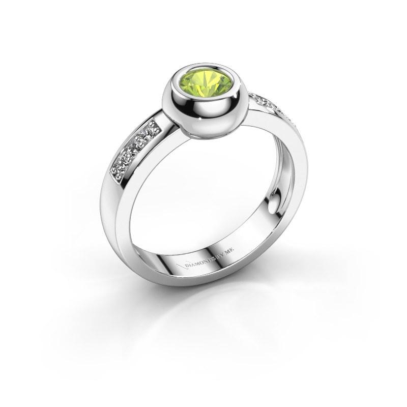 Ring Charlotte Round 585 witgoud peridoot 4.7 mm