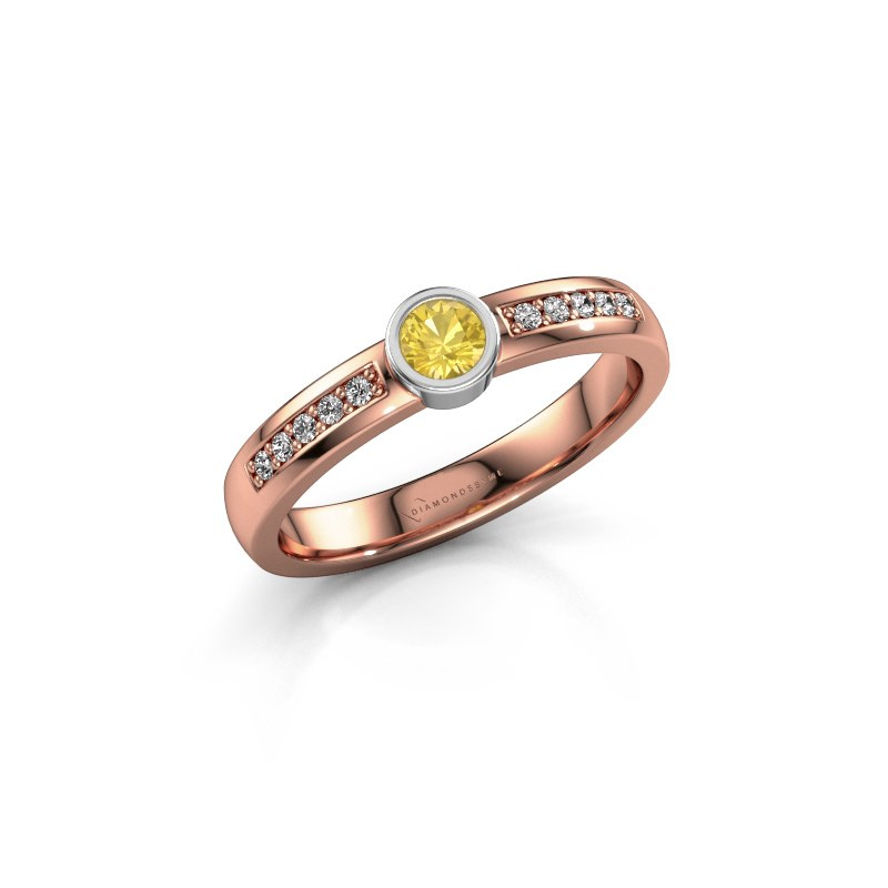 Engagement ring Ise 2 585 rose gold yellow sapphire 3.7 mm