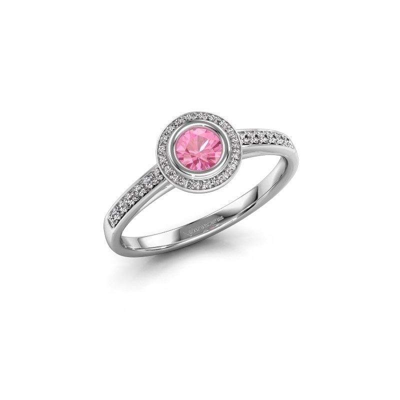Engagement ring Noud 2 RND 585 white gold pink sapphire 4 mm