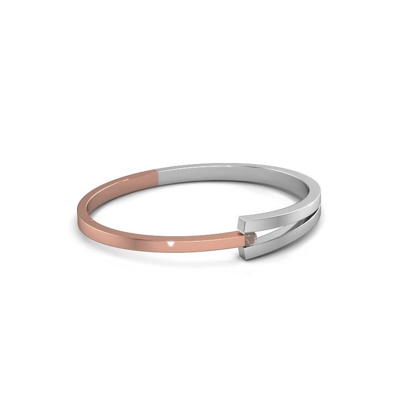 Slavenarmband Sofia 585 rosé goud rookkwarts 4 mm