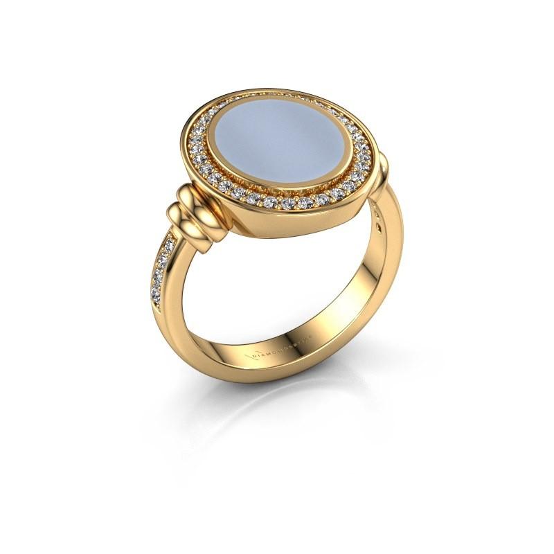 Zegelring Servie 2 585 goud licht blauwe lagensteen 12x10 mm