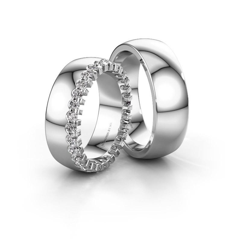 Trouwringen set WH6120LM27C ±7x2.2 mm 14 karaat witgoud diamant 0.03 crt