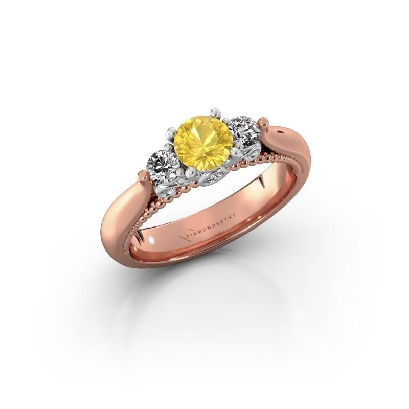 Verlovingsring Tiffani 585 rosé goud gele saffier 5 mm