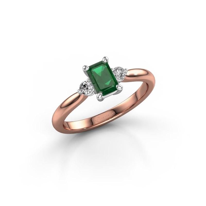 Verlovingsring Lieselot EME 585 rosé goud smaragd 6x4 mm