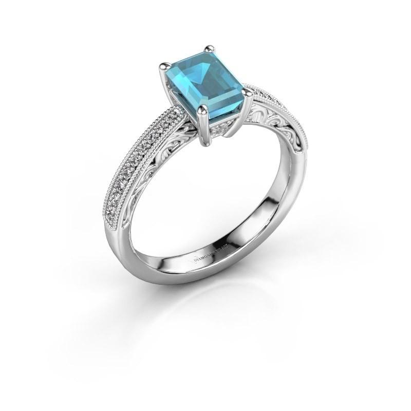 Verlovingsring Shonta EME 925 zilver blauw topaas 7x5 mm