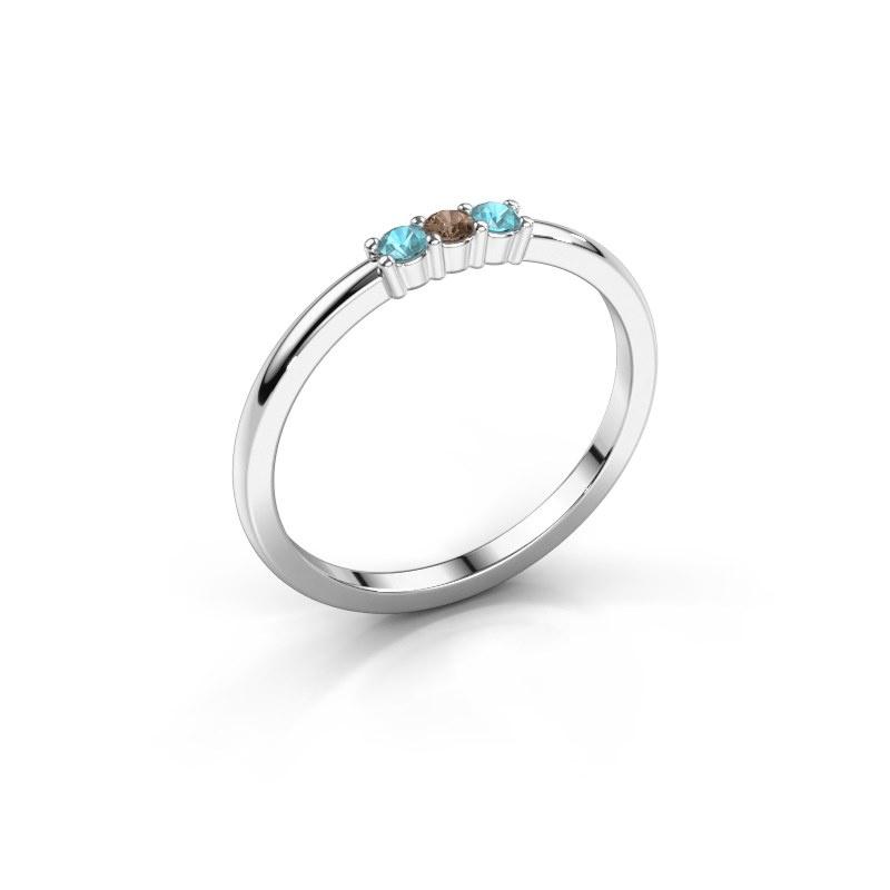 Verlovings ring Yasmin 3 925 zilver bruine diamant 0.03 crt