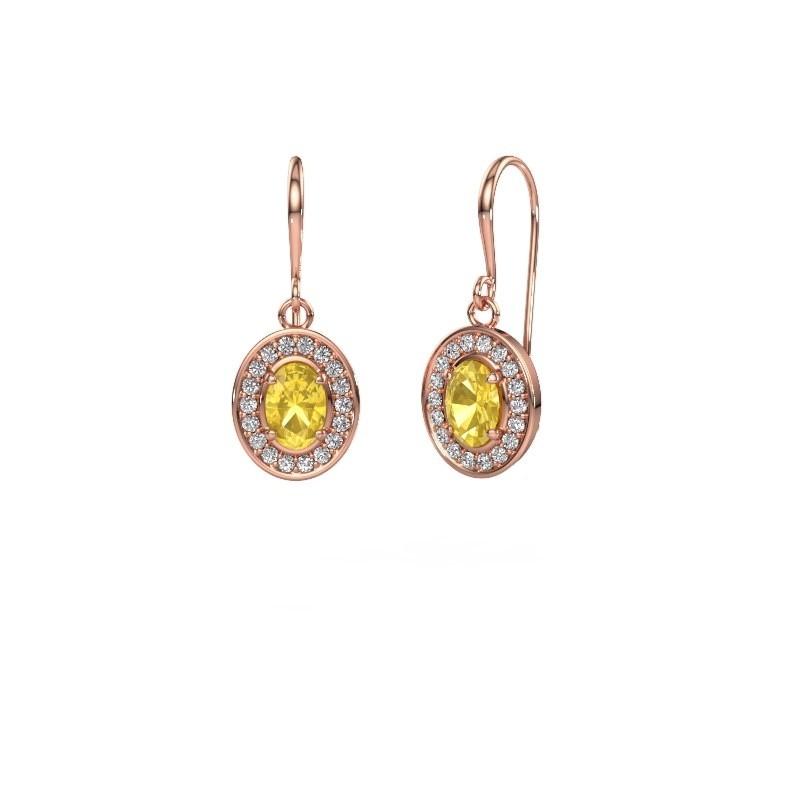 Drop earrings Layne 1 375 rose gold yellow sapphire 6.5x4.5 mm