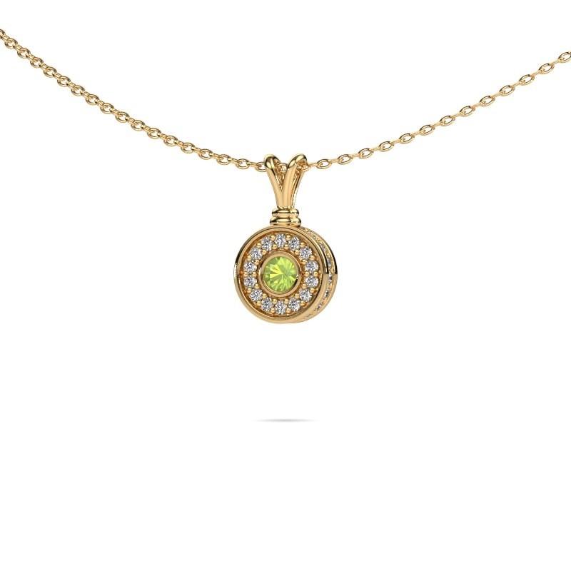 Hanger Roos 585 goud peridoot 3 mm