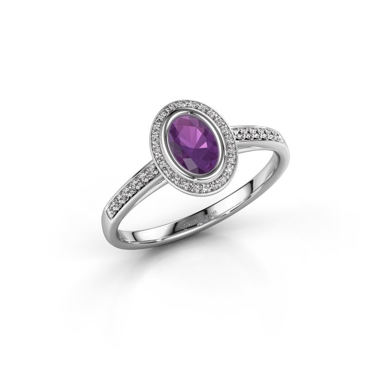 Engagement ring Noud 2 OVL 925 silver amethyst 6x4 mm