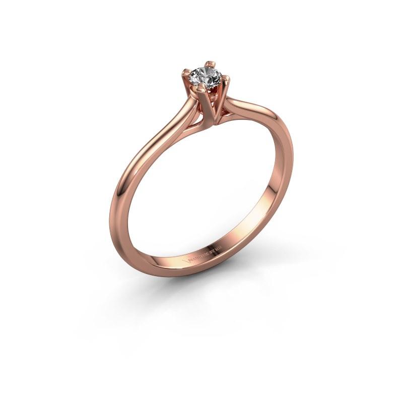 Verlovingsring Isa 1 585 rosé goud diamant 0.10 crt