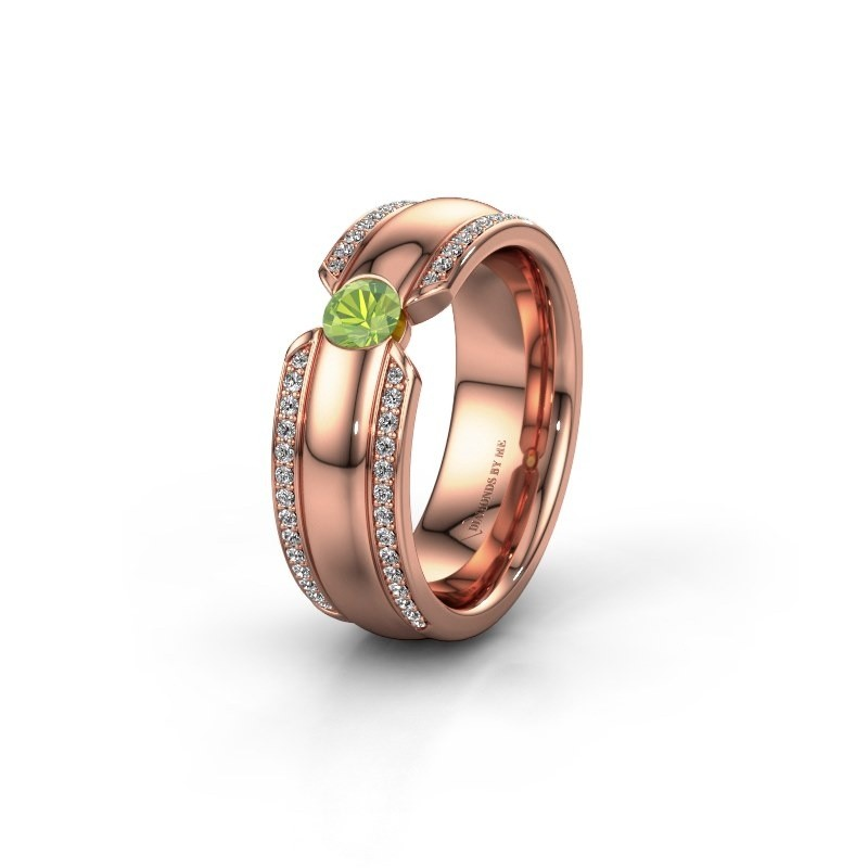 Wedding ring WHR0575L 375 rose gold peridot ±0.28x0.08 in