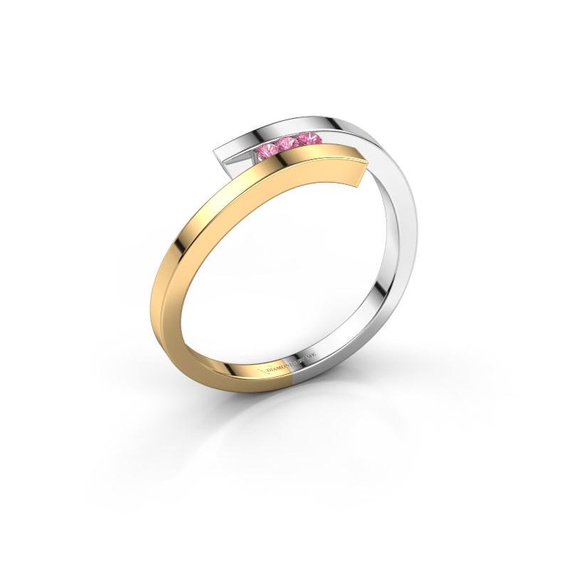 Ring Juliette 585 goud roze saffier 1.6 mm