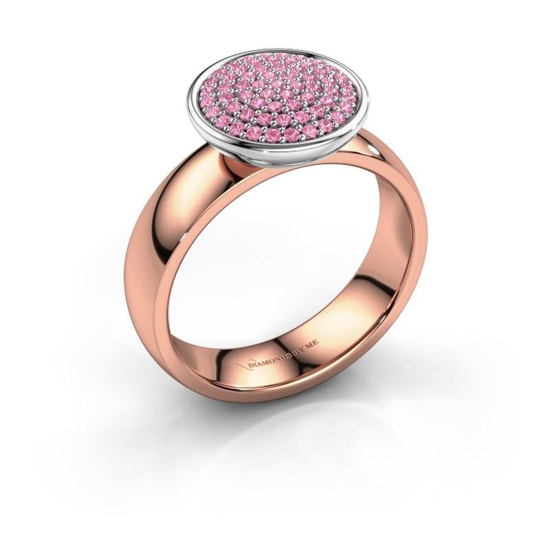 Ring Tilda 585 rosé goud roze saffier 1 mm