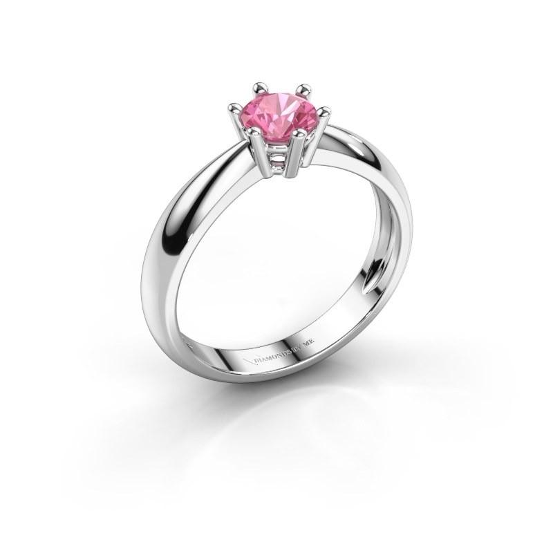 Verlovingsring Fay 950 platina roze saffier 5 mm