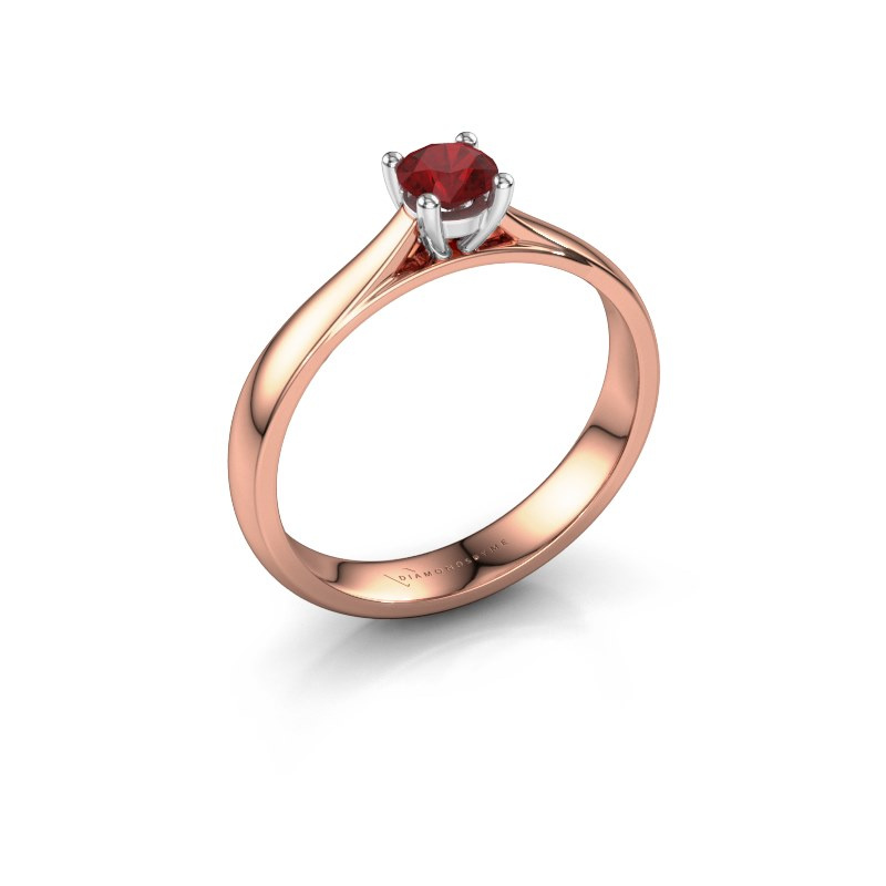 Engagement ring Sam 585 rose gold ruby 4.2 mm