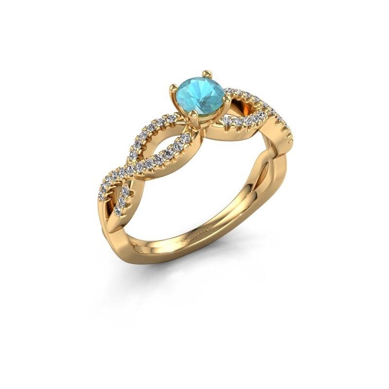 Verlovingsring Hanneke 375 goud blauw topaas 4.7 mm