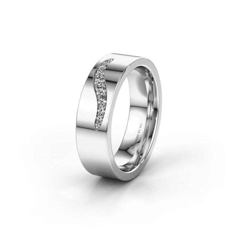 Trouwring WH2053L16BP 585 witgoud diamant ±6x2 mm