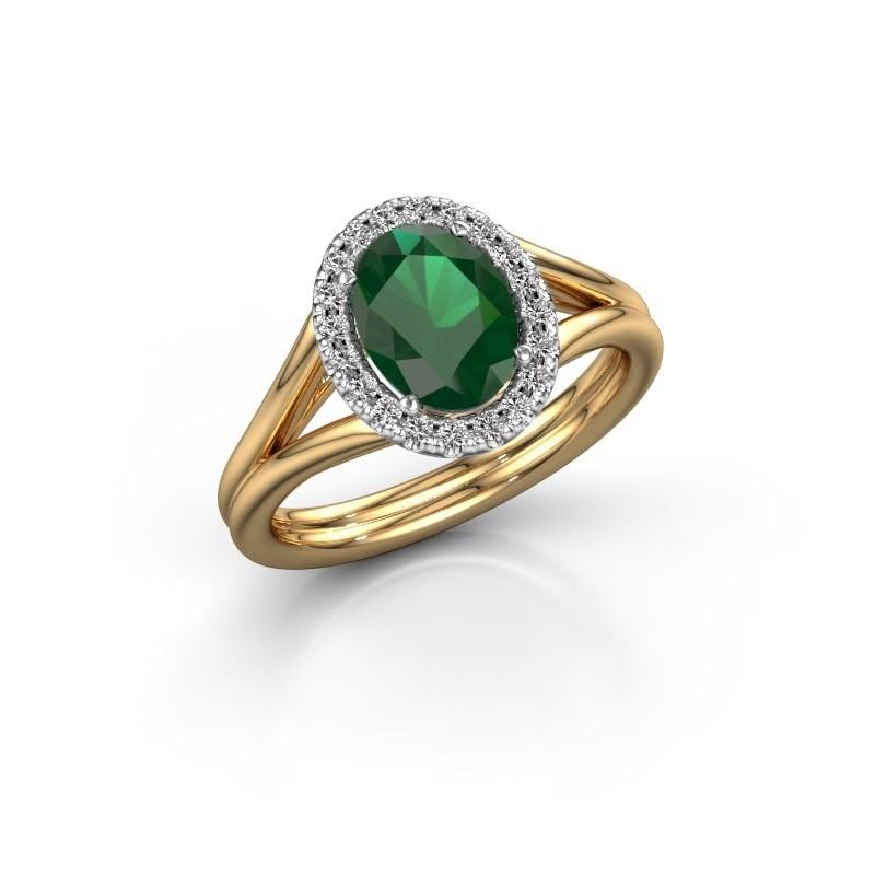 Verlobungsring Rachele 1 585 Gold Smaragd 8x6 mm