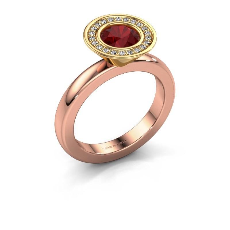 Stapelring Danille 585 rosé goud robijn 6 mm
